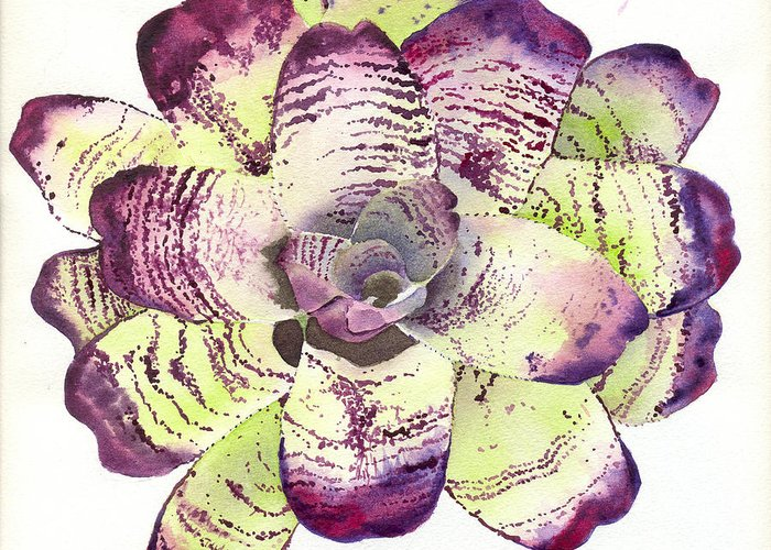 Neoregelia Greeting Card featuring the painting Neoregelia 'freeman's Vision' by Penrith Goff