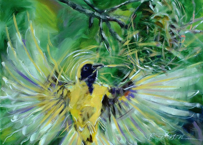 Nature Greeting Card featuring the painting Nest 2 by Ron Patterson