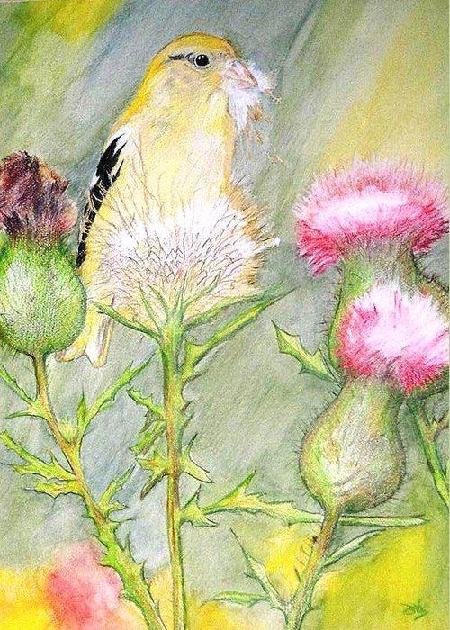 Goldfinch Greeting Card featuring the painting Nest Fluff by Debra Sandstrom