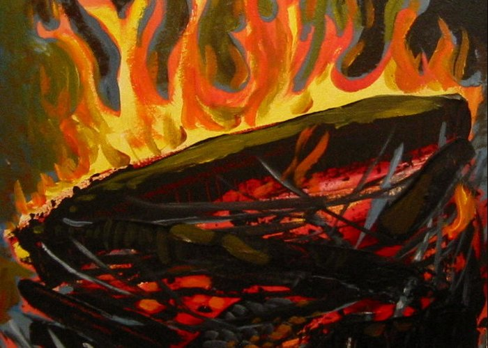 Nest Greeting Card featuring the painting Nest On Fire by Tilly Strauss