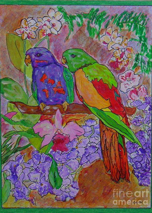 Tropical Pair Birds Parrots Original Illustration Leilaatkinson Greeting Card featuring the painting Nesting by Leila Atkinson