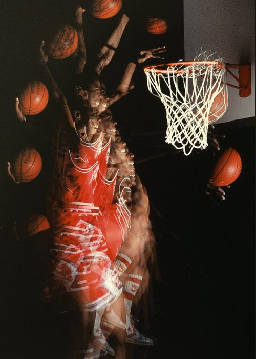 Sport; Sports; Basketball; Player; Effort; Ball; Basket; Dunk; Jump; Jumping; Skill; Game; Games; Basket Ball; Hoop; Round Ball; Net; Swish; Man; Boy; Black; African American; African-american Greeting Card featuring the photograph Net Fever by Gerard Fritz