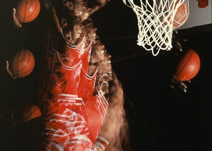 Sport; Sports; Basketball; Player; Effort; Ball; Basket; Dunk; Jump; Jumping; Skill; Game; Games; Basket Ball; Hoop; Round Ball; Net; Swish; Man; Boy; Black; African American; African-american Greeting Card featuring the photograph Net Fever by Gerard Fritz
