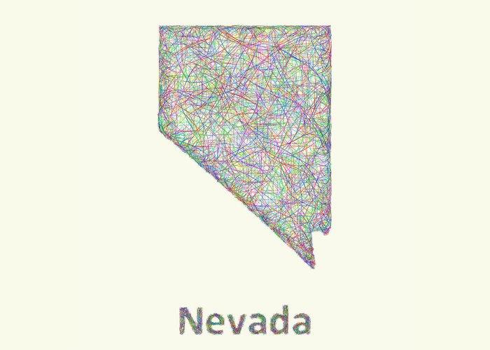 Nevada Map Greeting Card featuring the digital art Nevada Line Art Map by David Zydd