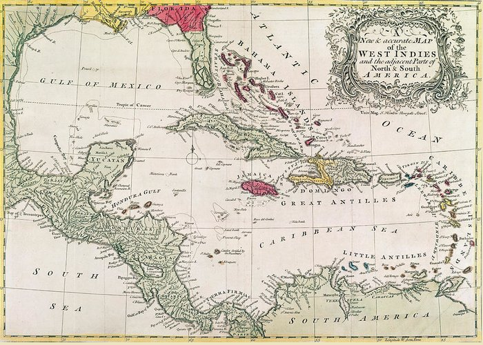 Maps Greeting Card featuring the drawing New And Accurate Map Of The West Indies by American School