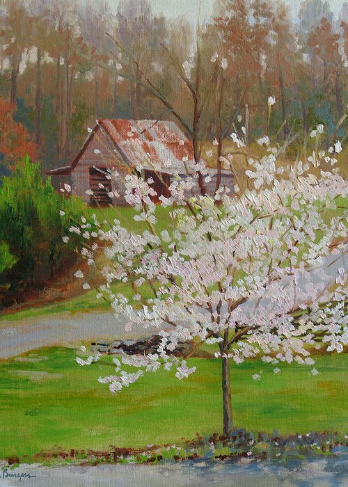 Landscape Greeting Card featuring the painting New Blossoms Old Barn by Keith Burgess
