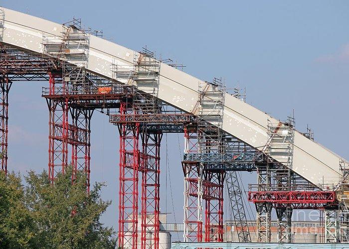 Construction Greeting Card featuring the photograph New Bridge Concrete Arc Construction Site by Goce Risteski