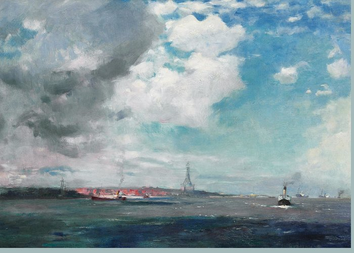 Seascape Greeting Card featuring the painting New Brighton From The Mersey by JH Hay