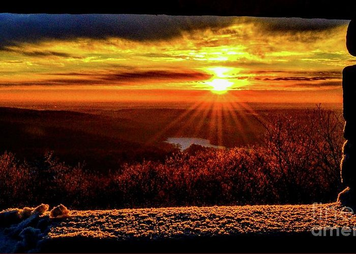 Blue Hills Reservation Greeting Card featuring the photograph New Day Dawns by Dave Pellegrini