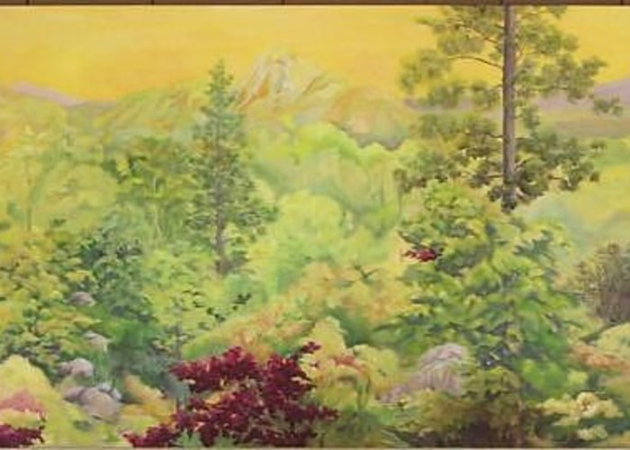 Landscape In Dominantly Greens And Yellow Trees And Brush With Mountain In Distance Greeting Card featuring the painting New Day by Irene Corey