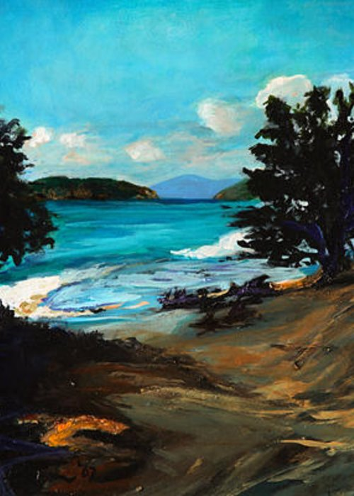 Landscape Greeting Card featuring the painting New Day by Michelle Winnie