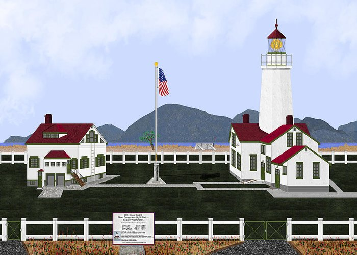 Lighthouse Greeting Card featuring the painting New Dungeness Lighthouse At Sequim Washington by Anne Norskog