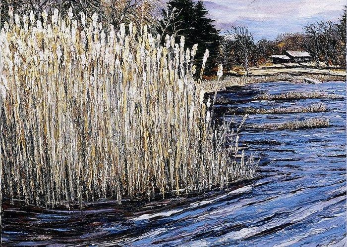 New England Greeting Card featuring the painting New England Pond by Richard Nowak