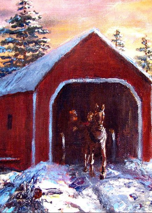 Winter Scene Greeting Card featuring the painting New England Winter Crossing by Jack Skinner