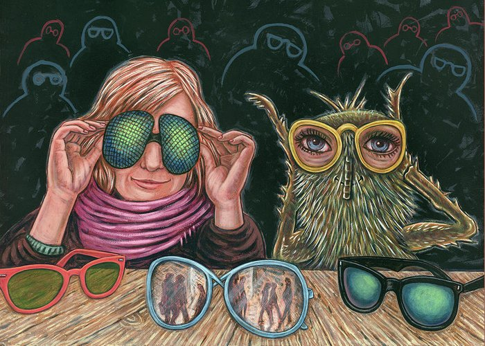 Woman Greeting Card featuring the painting New Eyes by Holly Wood