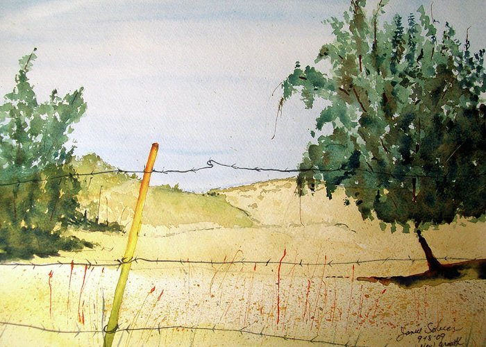 Landscape Greeting Card featuring the painting New Growth by Janice Sobien