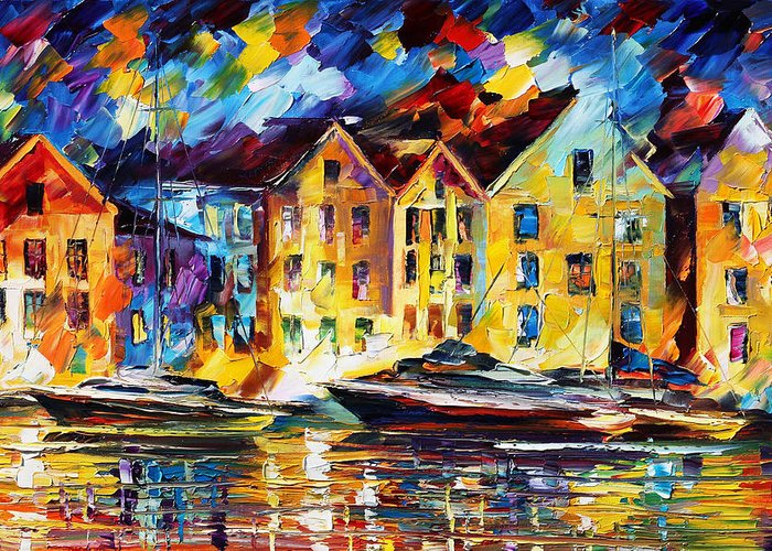 Afremov Greeting Card featuring the painting New Harbor by Leonid Afremov