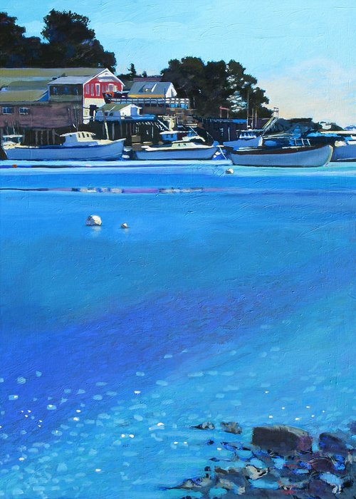 Maine Greeting Card featuring the painting New Harbor by Robert Bissett