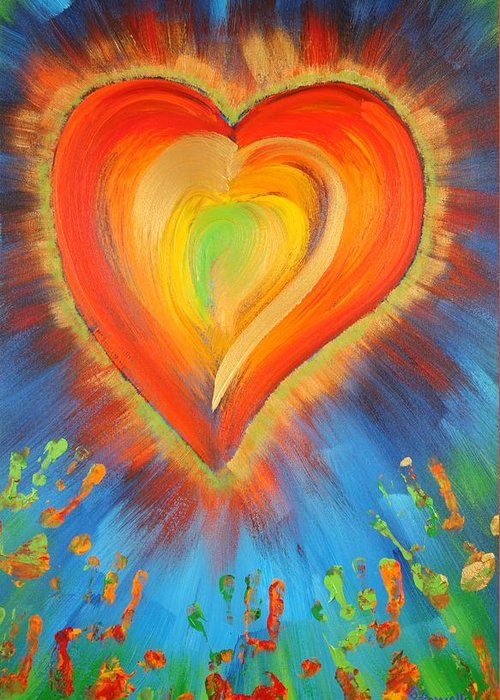 Heart Greeting Card featuring the painting New Heart by Gary Rowell