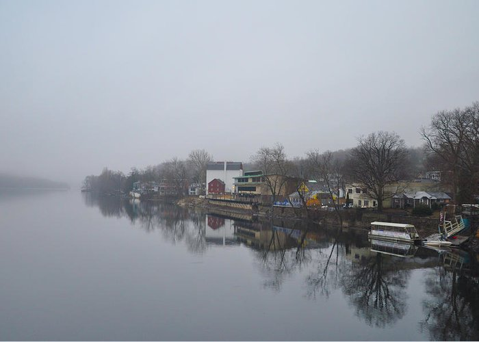 New Greeting Card featuring the photograph New Hope River View On A Misty Day by Bill Cannon