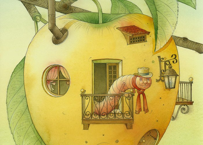 Landscape Apple Autumn Nature Illustration Yellow Home Greeting Card featuring the painting New House by Kestutis Kasparavicius