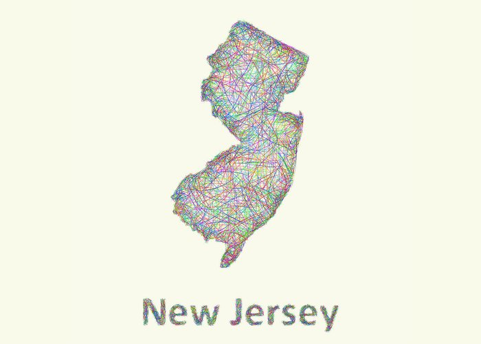 New Jersey Map Greeting Card featuring the digital art New Jersey Line Art Map by David Zydd