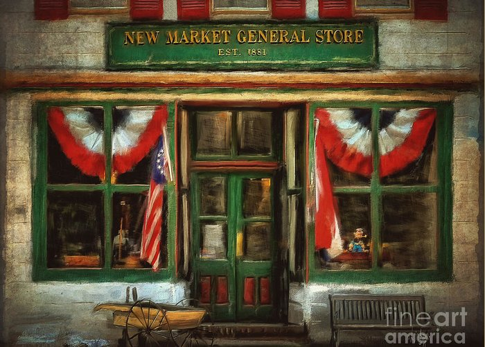 Store Greeting Card featuring the digital art New Market General Store by Lois Bryan