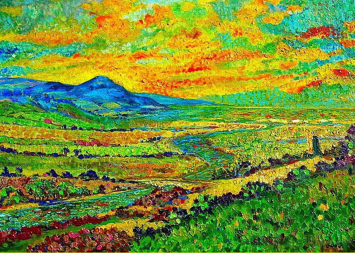 Sunset Greeting Card featuring the painting New Mexican Sunset by Michael Durst