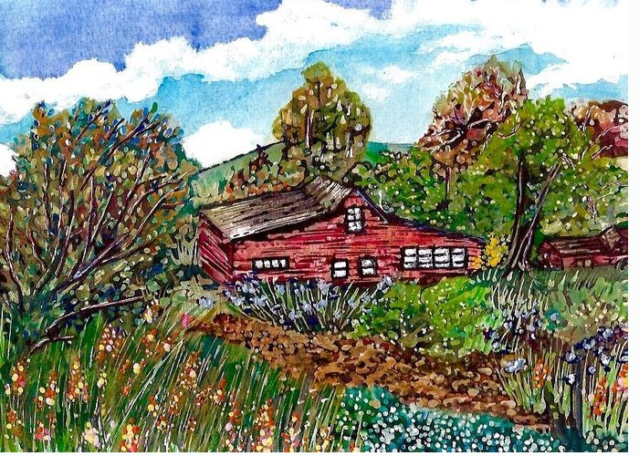 Pen And Ink Of Barn Mixed Media Greeting Cards