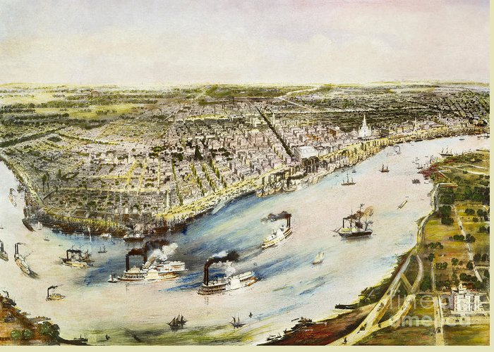 1851 Greeting Card featuring the photograph New Orleans, 1851 by Granger
