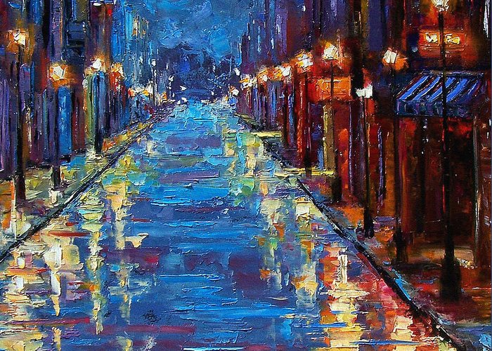 Cityscape Greeting Card featuring the painting New Orleans Bourbon Street by Debra Hurd