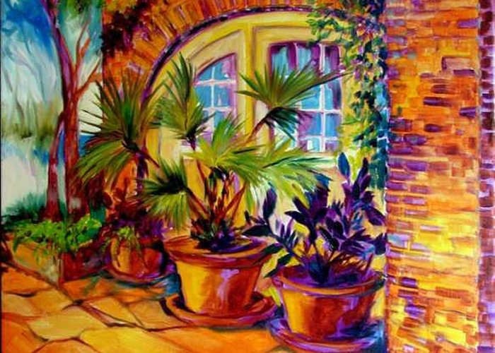 New Orleans Greeting Card featuring the painting NEW ORLEANS COURTYARD by M BALDWIN by Marcia Baldwin