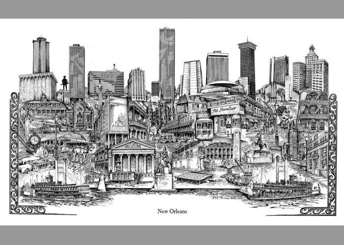 City Drawing Greeting Card featuring the drawing New Orleans by Dennis Bivens