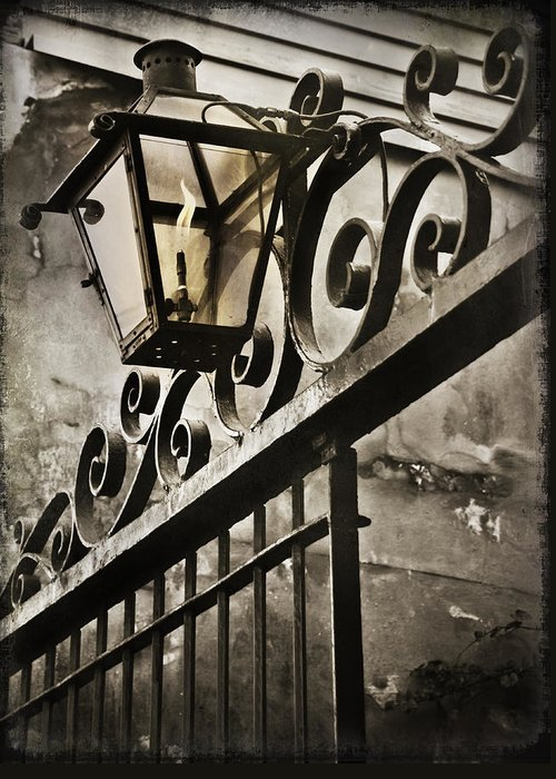 Louisiana Greeting Card featuring the photograph New Orleans Gaslight by Beth Riser