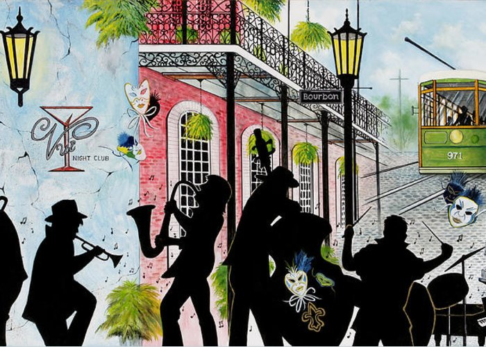 City Greeting Card featuring the painting New Orleans Magic by Don Griffiths