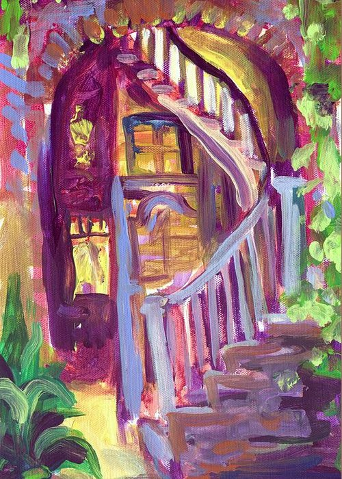 Patio Greeting Card featuring the painting New Orleans Patio by Saundra Bolen Samuel
