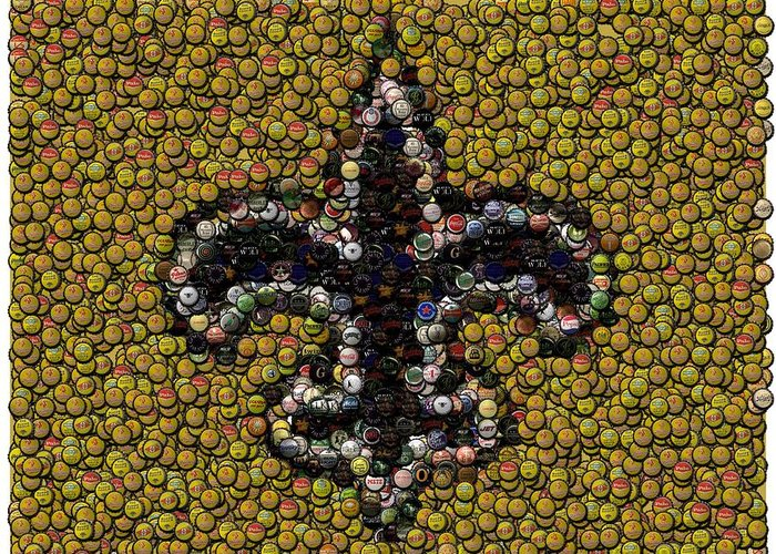 No Greeting Card featuring the digital art New Orleans Saints Bottle Cap Mosaic by Paul Van Scott