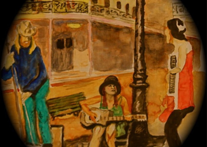 New Orleans Greeting Card featuring the painting New Orleans Street Band by Dan Earle