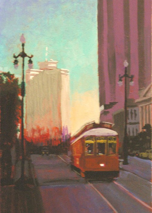 Trolley Greeting Card featuring the painting New Orleans Trolley by Robert Bissett