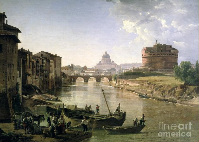River Tiber Greeting Card featuring the painting New Rome With The Castel Sant Angelo by Silvestr Fedosievich Shchedrin