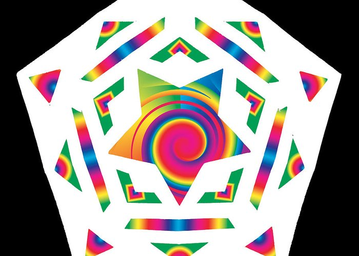 Pentacle Greeting Card featuring the digital art New Star 2a by Eric Edelman