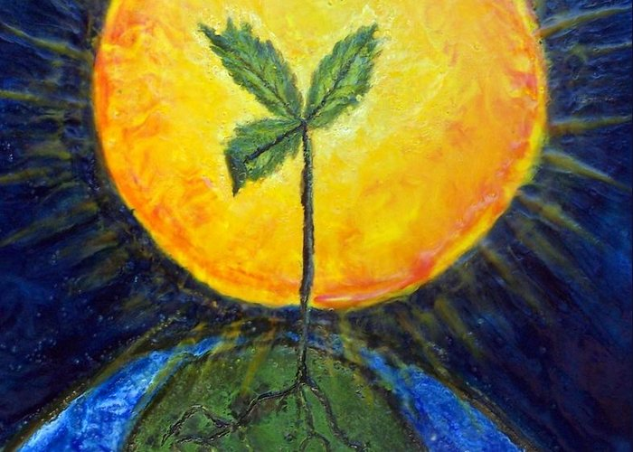 Sun Greeting Card featuring the painting New Thought by Karla Phlypo-Price