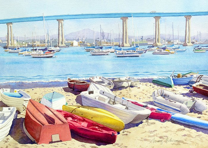 Landscape Greeting Card featuring the painting New Tidelands Park Coronado by Mary Helmreich