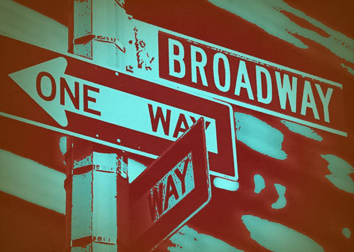 New York Greeting Card featuring the photograph New York Broadway Sign by Naxart Studio