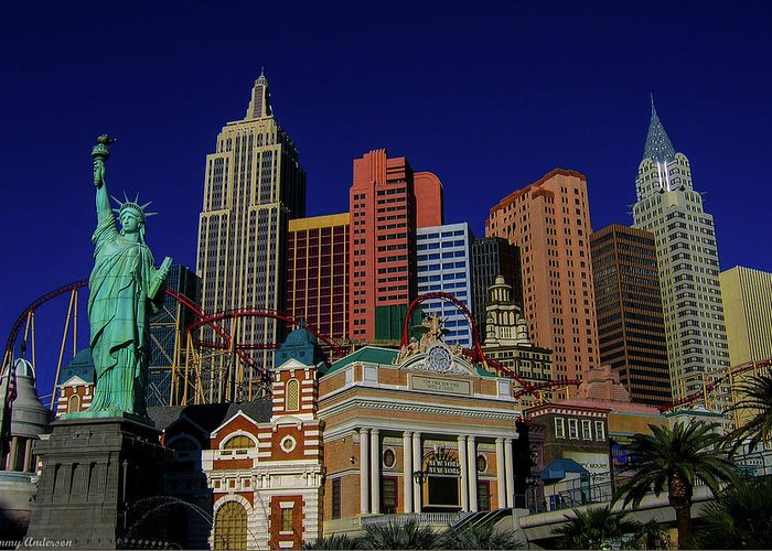 2014 Greeting Card featuring the photograph New York Casino At Night by Tommy Anderson