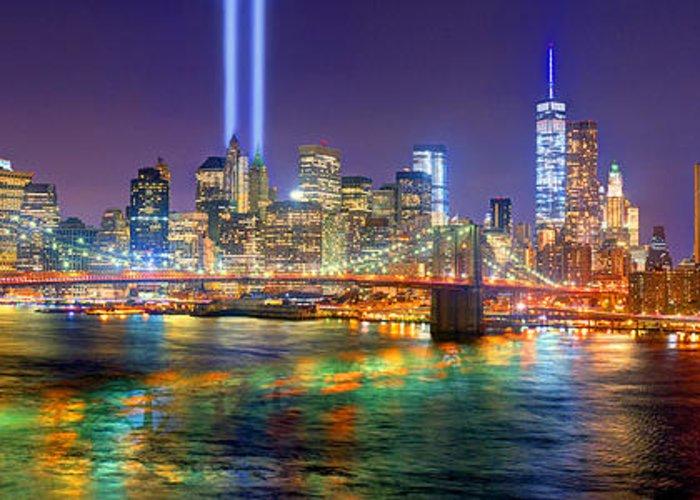 New York City Brooklyn Bridge Tribute In Lights Freedom Tower World