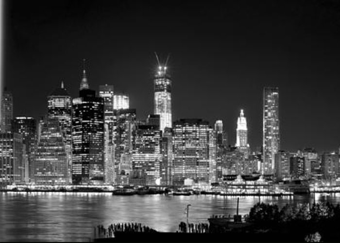 New York City Bw Tribute In Lights And Lower Manhattan At Night Black And White Nyc Greeting Card For Sale By Jon Holiday