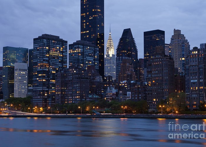 Bay Greeting Card featuring the photograph New York City From Across The Water by Bryan Mullennix