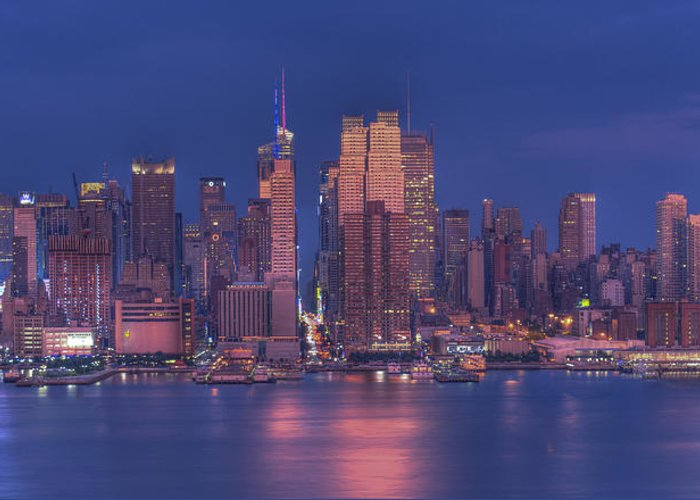 Nyc Skyline Greeting Card featuring the photograph New York City by Kirit Prajapati