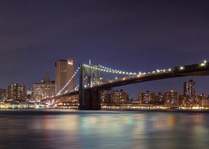 New York City Greeting Card featuring the photograph New York City - Manhattan Waterfront At Night by Thomas Richter